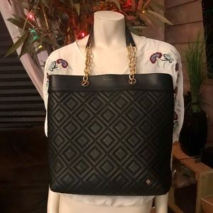 Tory Burch Black Quilted Leather Fleming Tote Bag